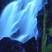 Blurry Metal Prints - Blue waterfall Metal Print by Bernard Jaubert