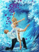 Ballroom Posters - Blue Wave Poster by Paint The Floor