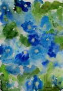 Free Form Painting Prints - Blue Wet on Wet Print by Jamie Frier