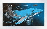 Humpback Whale Drawings - Blue Whales Dream by Connery Carson