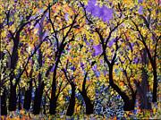 Blue Wildflowers  Golden Leaves Print by Sue Studio