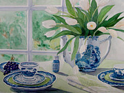 Interior Still Life Painting Metal Prints - Blue Willow Metal Print by Frances  Garrett