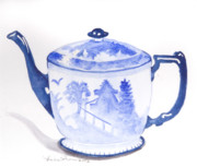 Teapot Paintings - Blue Willow Teapot by Lisa Schorr