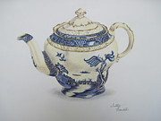 Teapot Drawings - Blue Willow Teapot by Sally Franklin