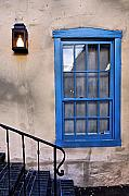 Adobe Framed Prints - Blue Window of an Adobe Building Santa Fe Framed Print by George Oze