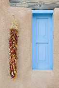 Taos Prints - Blue Window with Chili Peppers Print by Bryan Mullennix