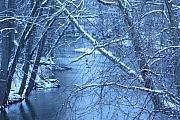 Beautiful Creek Mixed Media Prints - Blue Winter Print by Bruce McEntyre