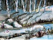Snowy Trees Drawings - Blue Winter by Mindy Newman