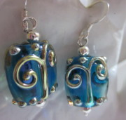 Abstract Jewelry - Blue with Silver Swirl Earrings by Janet  Telander