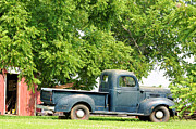 Country Scenes Framed Prints - Blue Work Truck Framed Print by Jan Amiss Photography