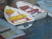 Oars Paintings - Blue Yellow and Red Boats Tremont Maine by Susan Herbst