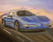 Sportscar Paintings - Blue Z-06 again by James Lopez