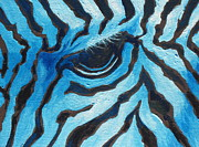 Zoo Painting Prints - Blue Zebra Print by Sandy Tracey