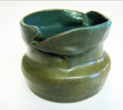 Hand Thrown Pottery Originals - Blue Ziggle Pot by Vernon Nix
