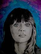 Zooey Deschanel Drawings Prints - Blue Zooey Deschanel Print by Ashley Henry