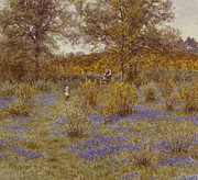 Standing Painting Framed Prints - Bluebell Copse Framed Print by Helen Allingham