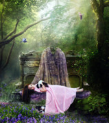 Girl Digital Art Posters - Bluebell Dreams Poster by Karen Koski