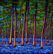 Vibrant Painting Prints - Bluebell Wood Print by Johnathan Harris