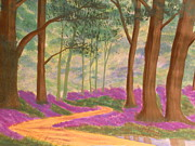 Pathway Paintings - Bluebell wooded pathway by Kimberly Hebert