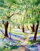 Bluebells Paintings - Bluebells in April by Maria Balcells