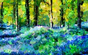 Nature Scene Mixed Media Metal Prints - Bluebells In The Forest - Abstract Metal Print by Zeana Romanovna