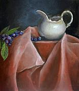 Still Life Acrylic Prints - Blueberries and Cream by Enzie Shahmiri