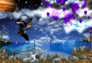 Spirits Digital Art - Blueberries float into vanilla clouds by By ValxArt