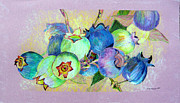 Colored Pencil Mixed Media Posters - Blueberries Poster by Mindy Newman