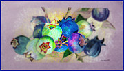 Blueberry Digital Art Prints - Blueberries Prime Time Print by Mindy Newman