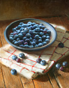 Illustrated Posters - Blueberries Poster by Robert Papp