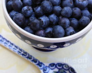 Shades Of Blue Prints - Blueberries with Spoon Print by Carol Groenen