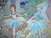 Blueberry Paintings - Blueberry fairies by Judith Desrosiers
