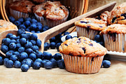 Small Basket Framed Prints - Blueberry Muffins Framed Print by Stephanie Frey