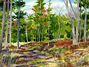 Mountain Biking Paintings - Blueberry Trail in Autumn by Jeff Mathison
