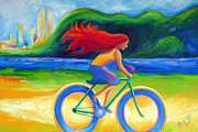 Bicycling Paintings - BlueBerry Wheels by Janet Oh