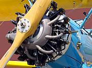 Aircraft Radial Engine Posters - BlueBiPlane Poster by Robert Trauth