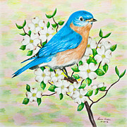 Blue Flowers Drawings - Bluebird and Dogwood by Lena Auxier