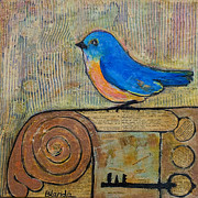 Art Decor Mixed Media Posters - Bluebird Art - Knowledge is Key Poster by Blenda Studio