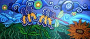 Fleur De Lis Art - Bluebird Dragonfly and Irises by Genevieve Esson