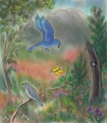 Cottonwood Paintings - Bluebird Family in the Draw teen pastel by Dawn Senior-Trask