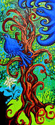 Bird Prints Art - Bluebird In Tree by Genevieve Esson