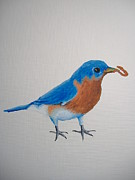 Bluebird Painting Originals - Bluebird Lunch by Norm Starks