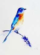 Bluebird Painting Originals - Bluebird of Happiness  by Andrea Realpe