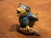 Animal Sculpture Ceramics Posters - Bluebird of Happiness whistle Poster by Chere Force