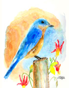Bluebird Painting Metal Prints - Bluebird On A Post Metal Print by Arline Wagner
