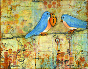 Love Bird Prints - Bluebird Painting - Art Key to My Heart Print by Blenda Studio