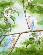 Bird Art Prints - Bluebird Pair Keeping Watch Print by Kathryn Duncan