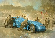 Car Racer Posters - Bluebird Poster by Peter Miller