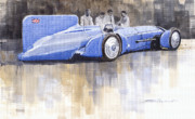 Retro Painting Prints - Bluebird world land speed record car 1931 Print by Yuriy  Shevchuk