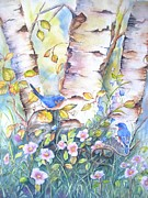 Bluebird Painting Originals - Bluebirds and birch trees by Patricia Pushaw